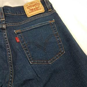 Levis 512 Red Tab Slimming Denim Jeans Dark Wash